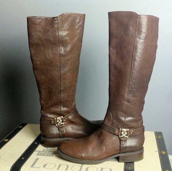 ea6c0f0bd3b Vince Camuto logo brown leather riding boot new 8. NWT